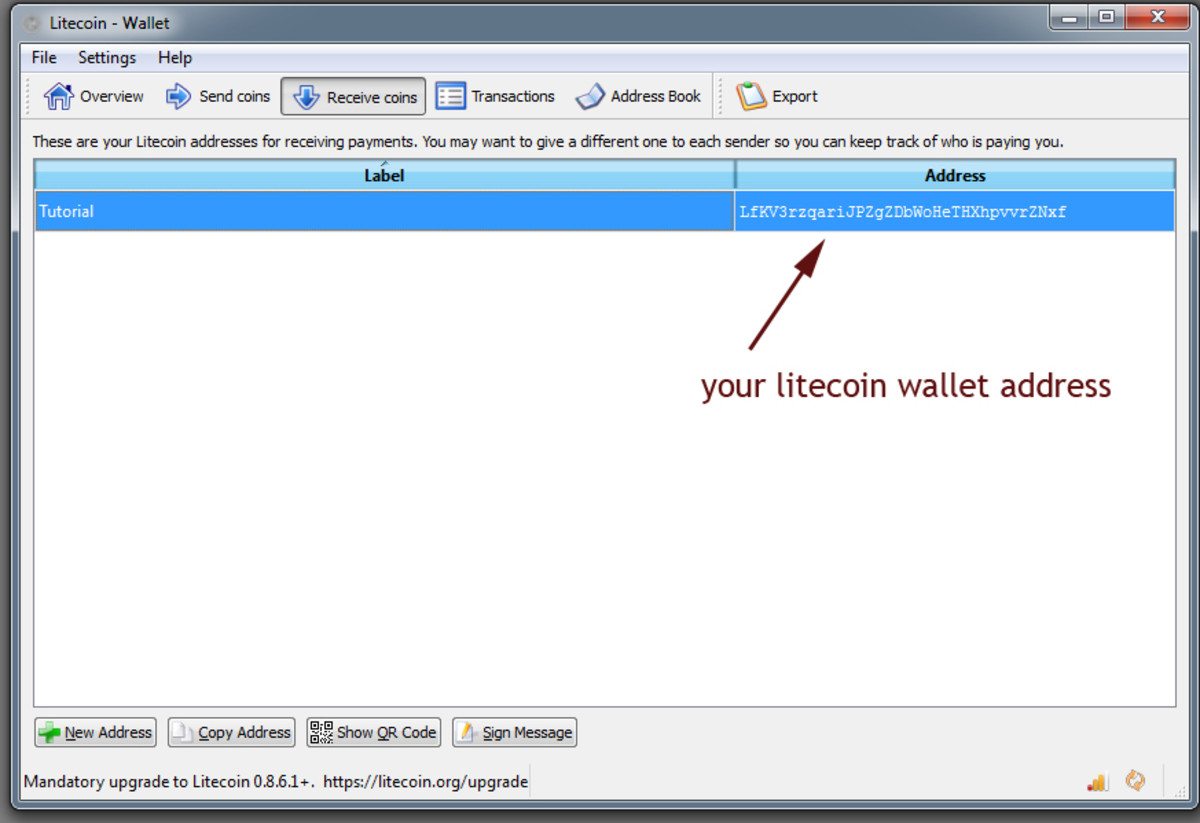 litecoin wallet showing the wallet address.