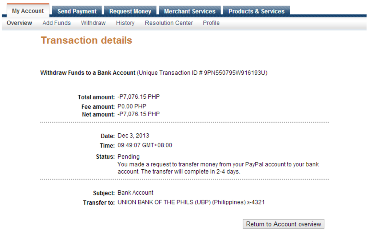 Transaction Detail - Proof that the Withdrawal from Paypal is completed