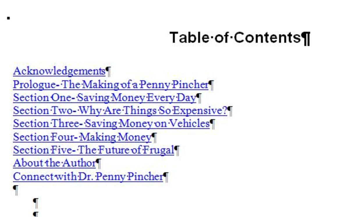 Use Hyperlinks in Microsoft Word to Make a Table of Contents for Your eBook