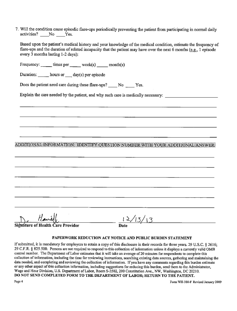 Reduced FMLA leave paperwork, page 4