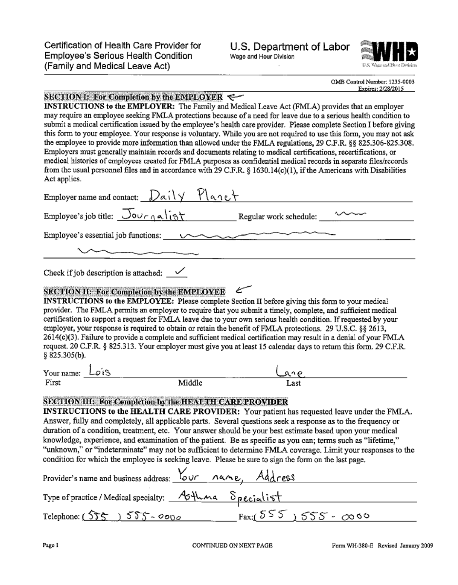 Intermittent FMLA leave paperwork, page 1