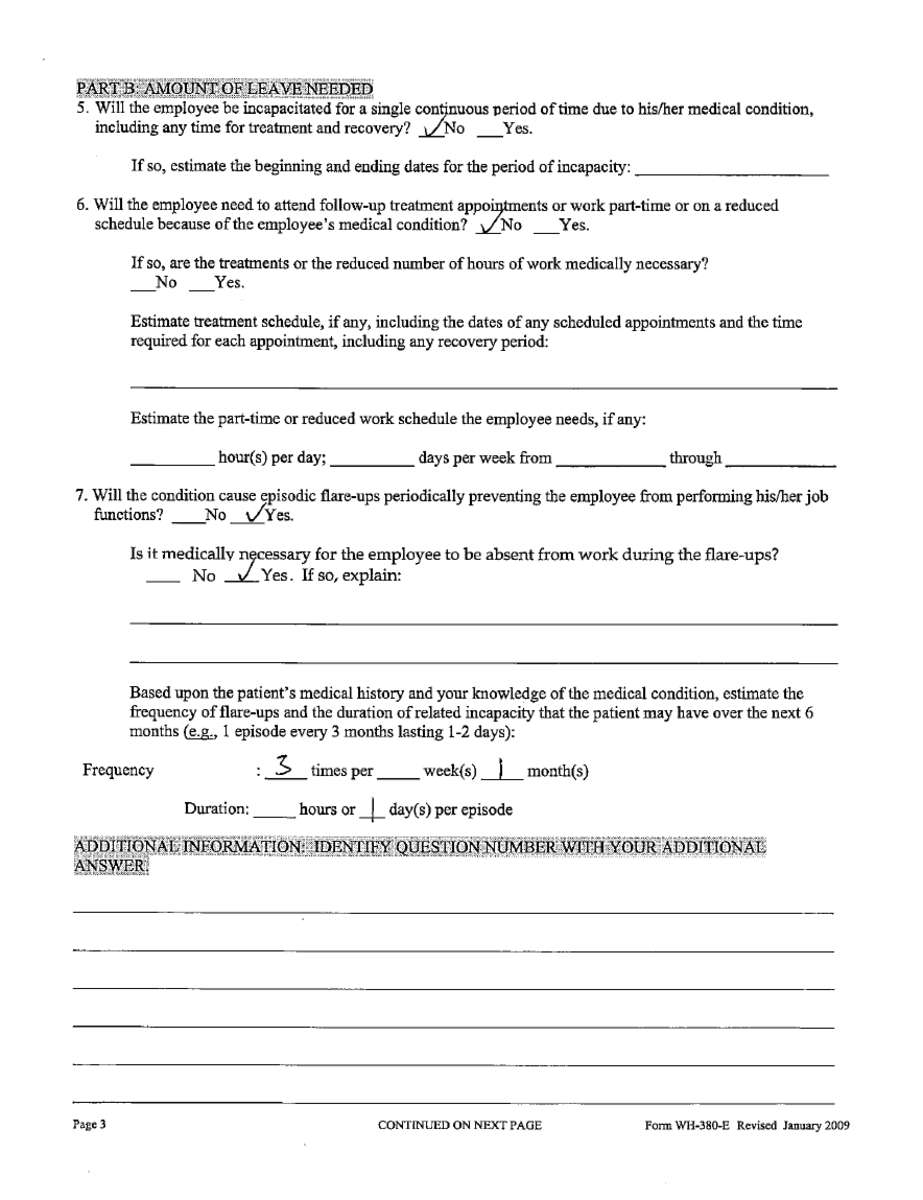 Intermittent FMLA leave paperwork, page 3