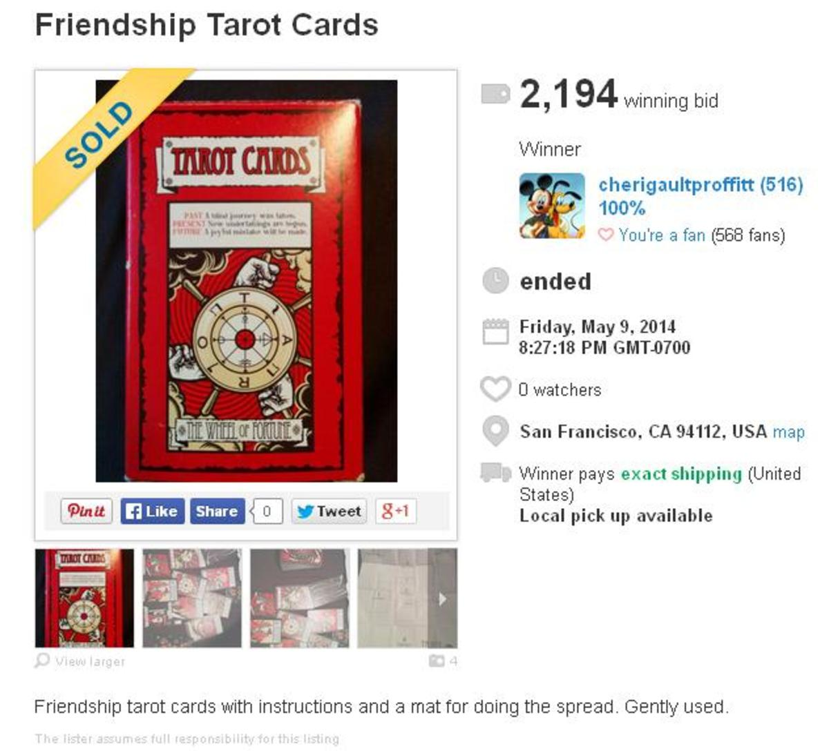 This was one of my first Listia auctions. I got lucky, and my tarot cards were popular.
