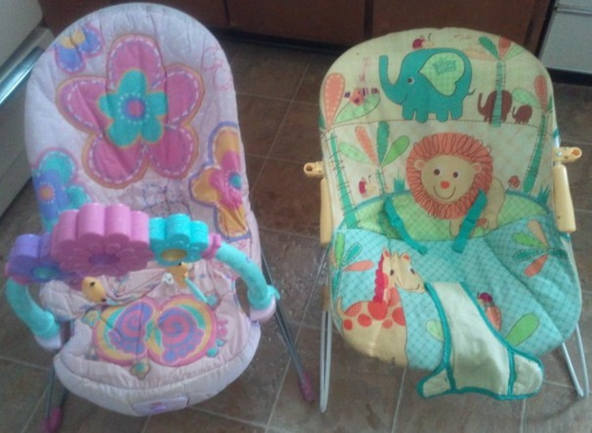 The pink bouncer was just $3 from a yard sale. The green and yellow bouncer was $20 from Walmart.