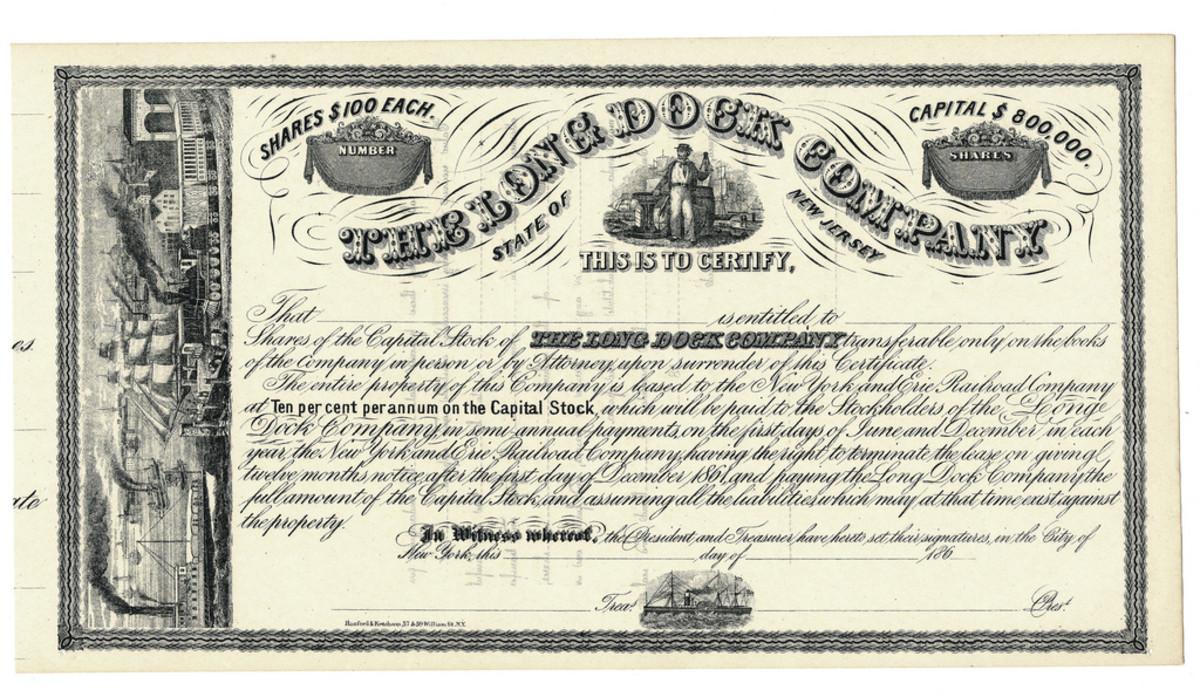 The Long Dock Company $100 shares