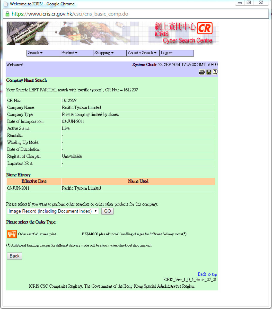 Search results for a business registration for Pacific Tycoon on the Hong Kong government website.