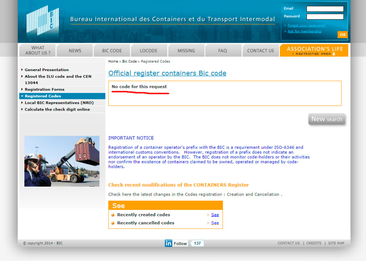 Report for BIC code MZCU4057216 at the Bureau International des Containers et du Transport Intermodal website.