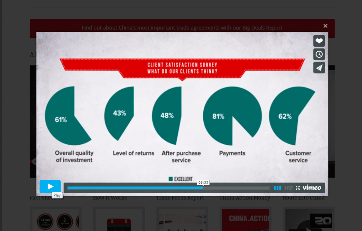 """Only 61% of customers thought that the overall quality of investment in PT was excellent, according to the company's own diagram on its """"Client Testimonials"""" video."""