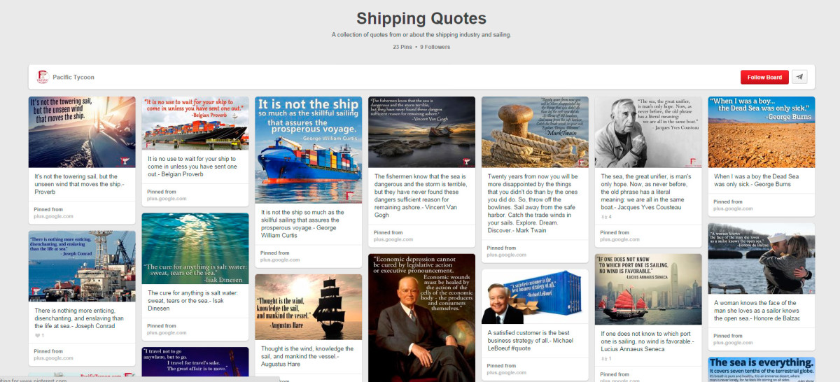 A highly unconvincing Pinterest page full of Shipping Quotes from erm....just about anywhere. How many serious shipping companies do this to attract customers? Note that the PT Pinterest page link is sadly absent from their website...