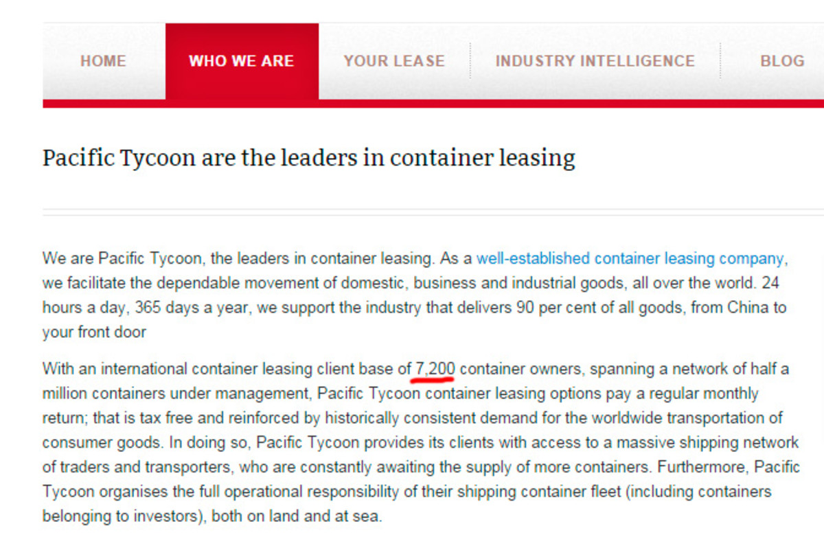 PT has an international container leasing client base of 7,200 container owners, according to their website.
