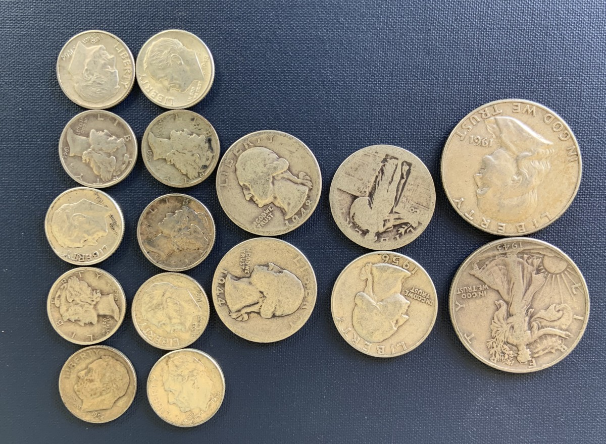 United States common 90 percent silver coins. All date before 1965. These coins normally sell for a little over their silver content.
