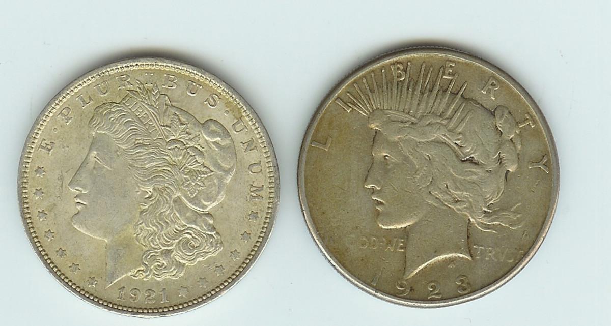 Morgan and Peace Silver Dollar