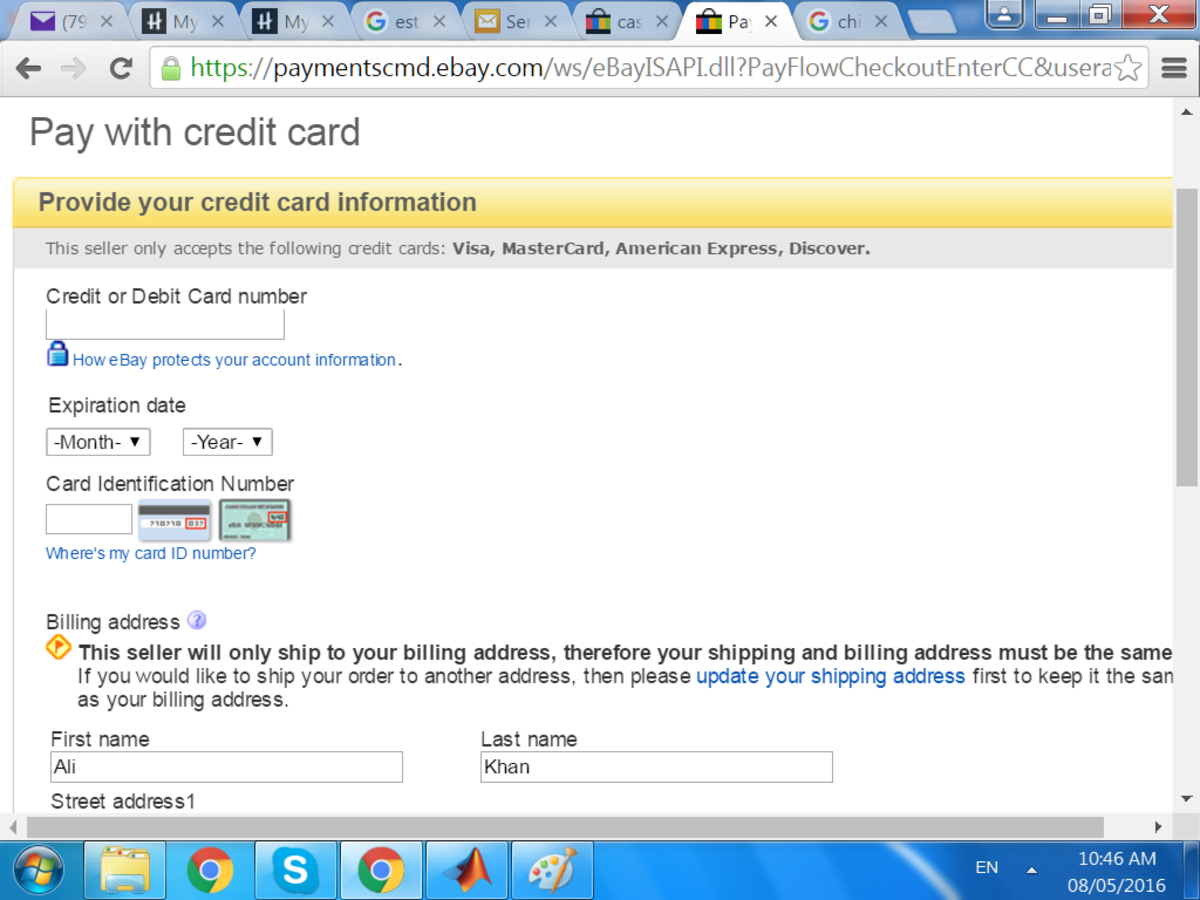 eBay is now directly accepting credit / debit cards.