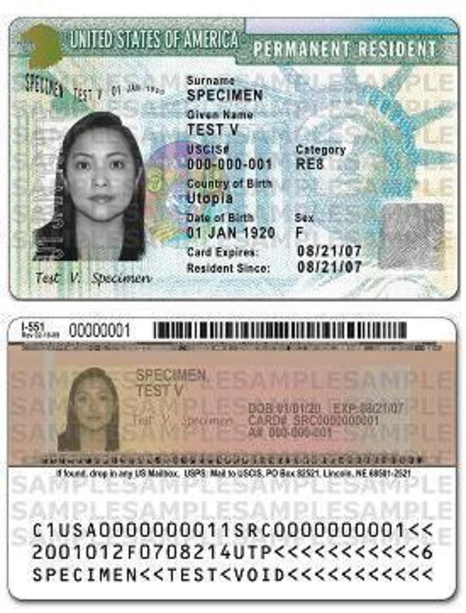 This is a sample Resident Card (again, not an actual card).