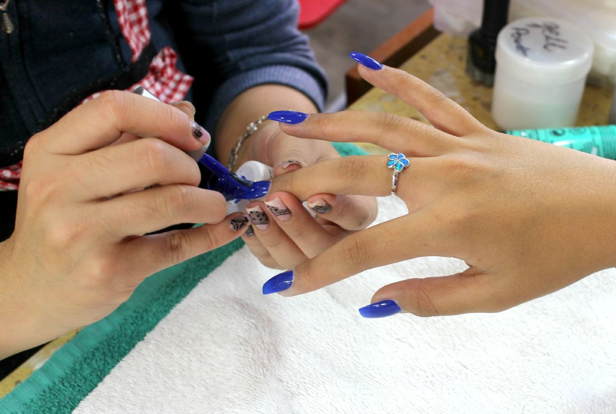 Getting a manicure.
