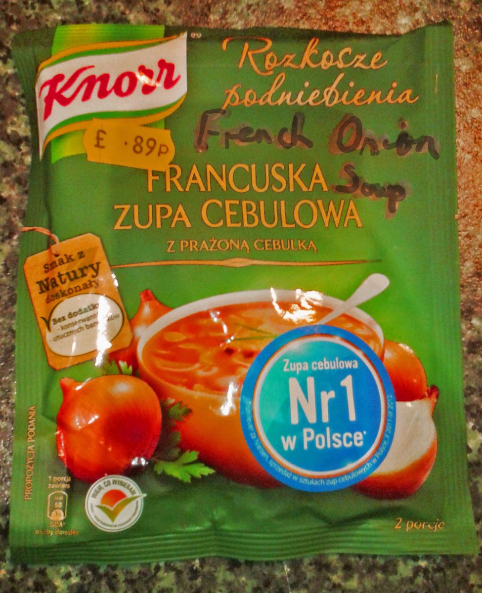 Study the label of this Polish soup packet. Francuska = French;  Zupa = Soup;   Cebulowa = Onion;