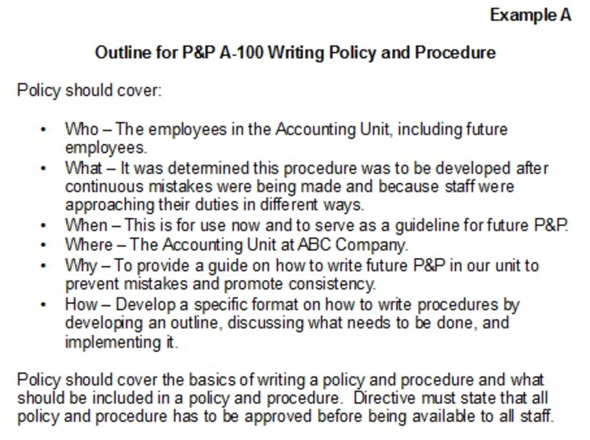 An example of a policy and procedure.