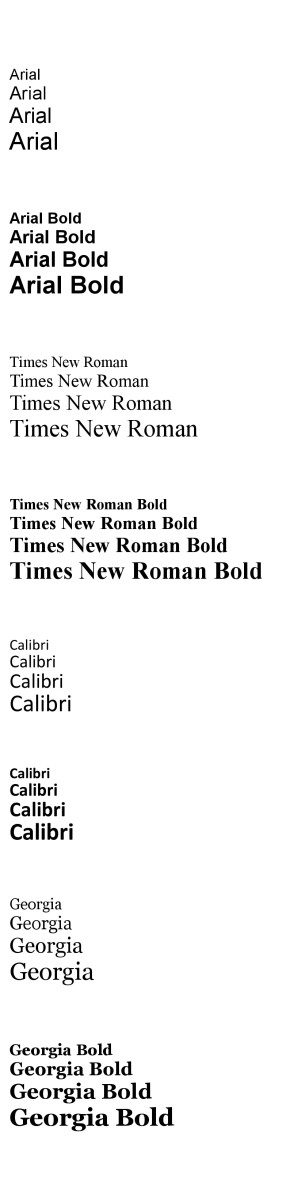 Examples of the fonts mentioned above.