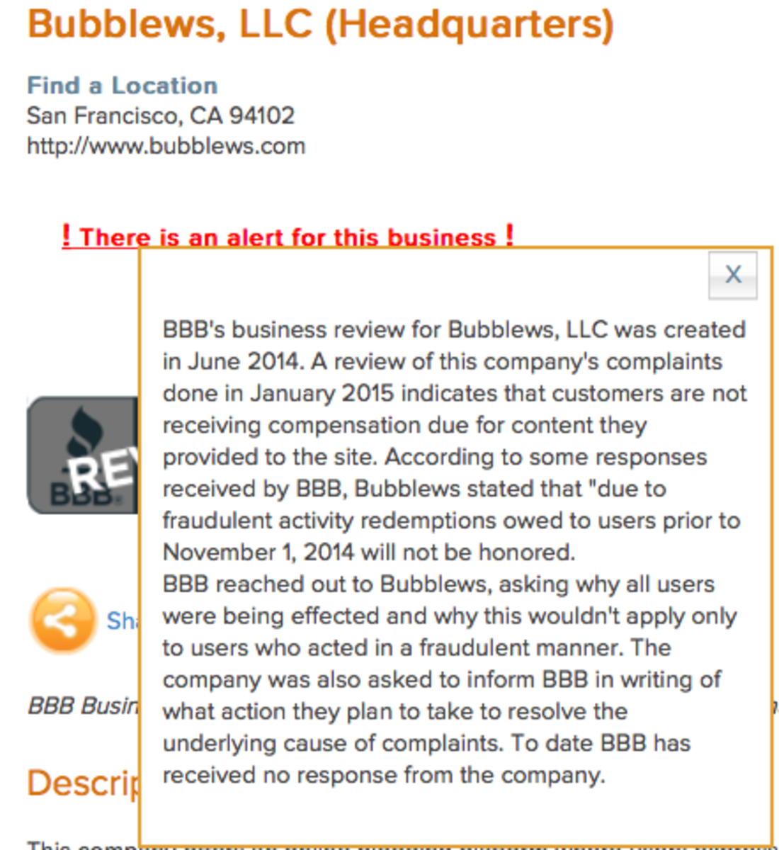 Better Business Office Warning About Bubblews