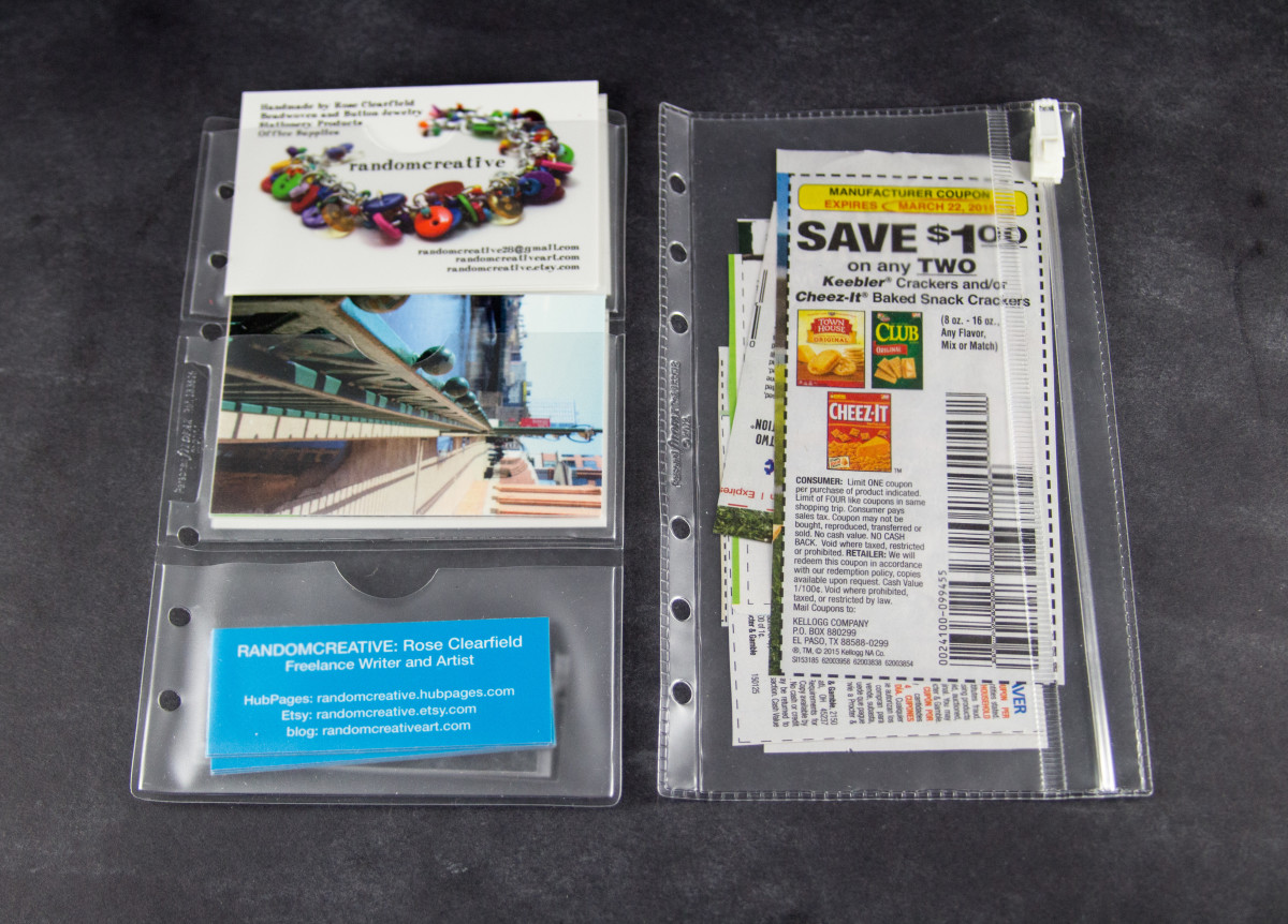 Business card holder on the left, Zip lock envelope on the right. Clear, top open envelope not pictured.