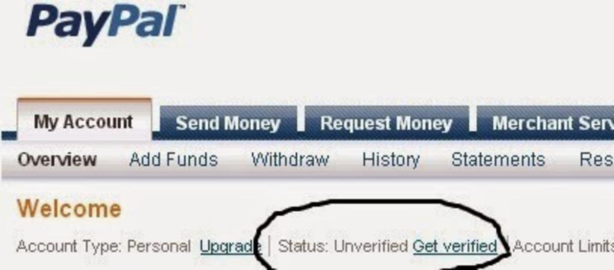 Screenshot of PayPal user interface.