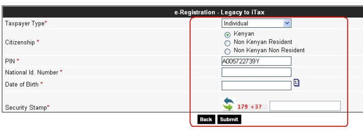 KRA PIN e-registration:  Kenyan Resident