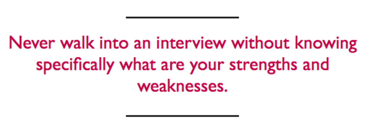 what are some strengths and weaknesses for an interview