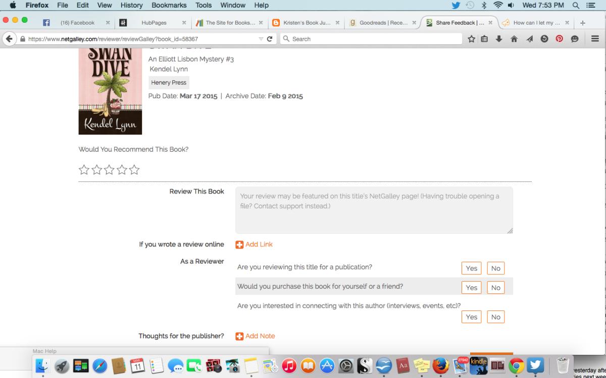 NetGalley's easy feedback form
