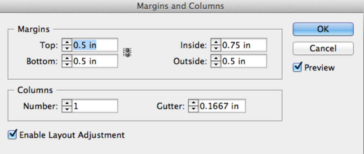 Set your margins and columns. I used .5 inches for all but the inside margins.