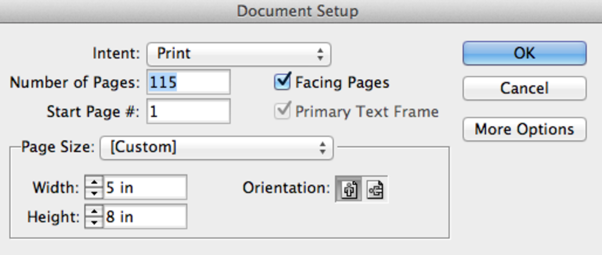 "Create a new document: File   New   Document, and setup the page size (I used 8x5.) Check the ""Facing Pages"" box."