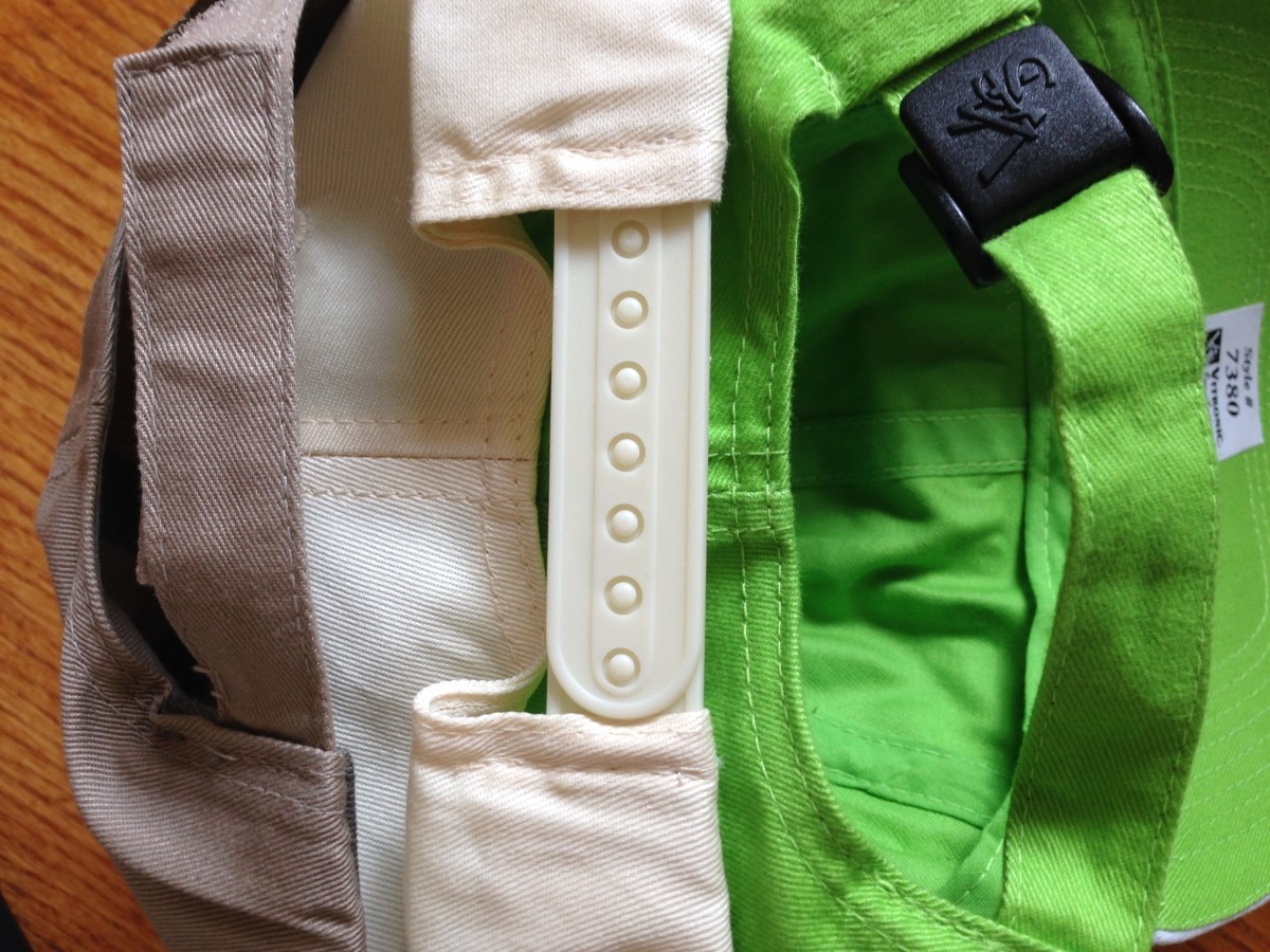 Common hat adjustment closures include hook-and-loop tabs, plastic tabs and fabric strap with buckle.