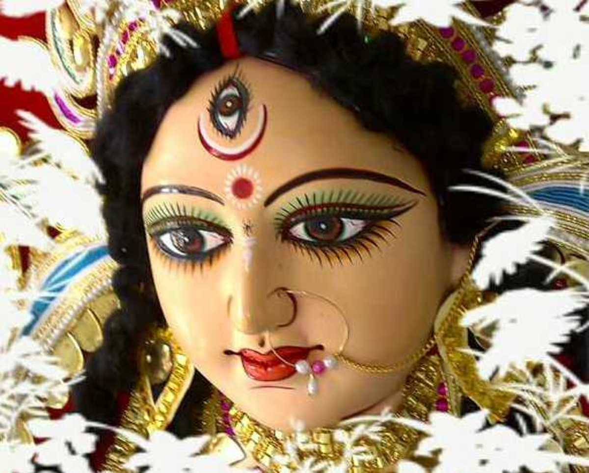 The Hindu goddess, Durga, protects humankind from evil.  Hinduism is the third largest religion worldwide and is the oldest.