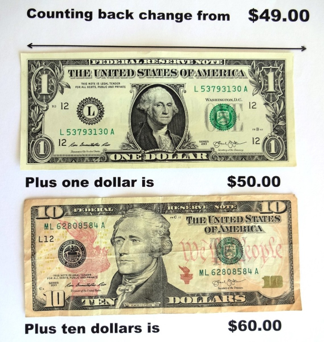 And one dollar makes fifty. Add ten more dollars and you have sixty.