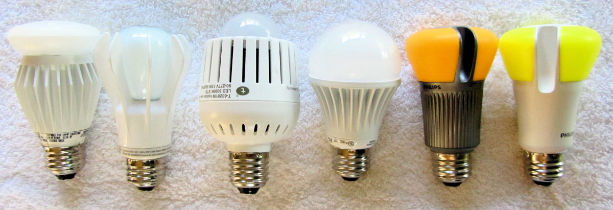 Various types of LED bulbs.