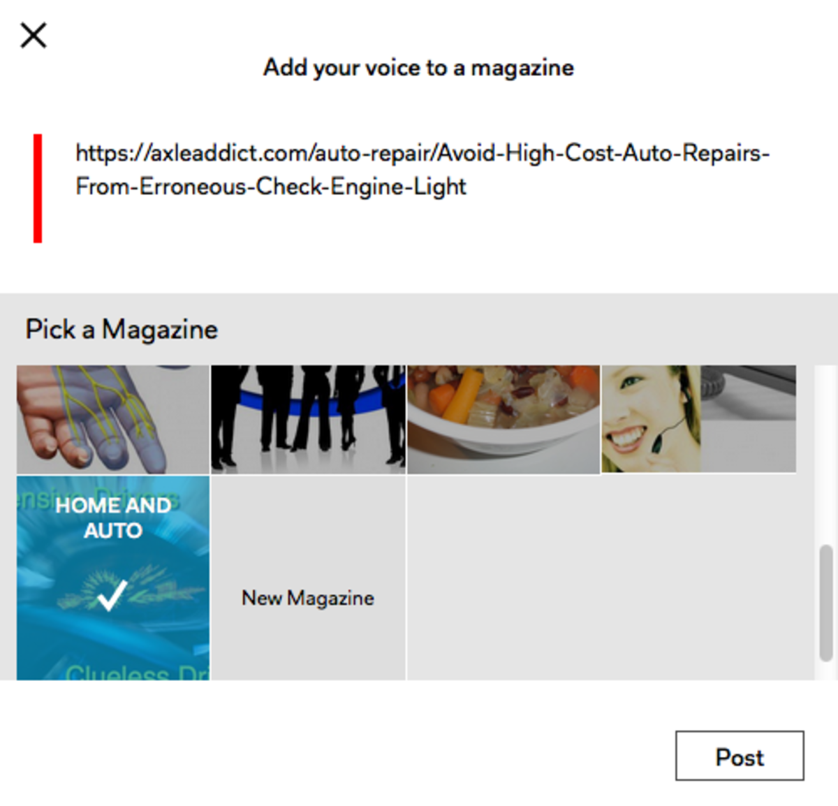 Adding a Flip of a Hub to a Magazine