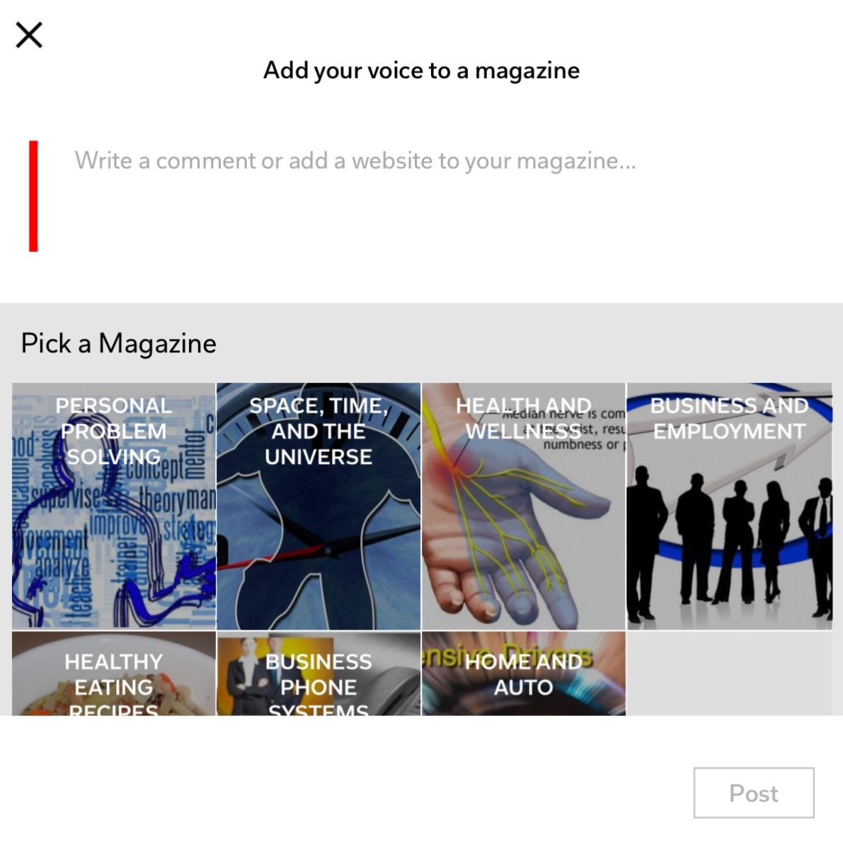 Add your voice to a magazine