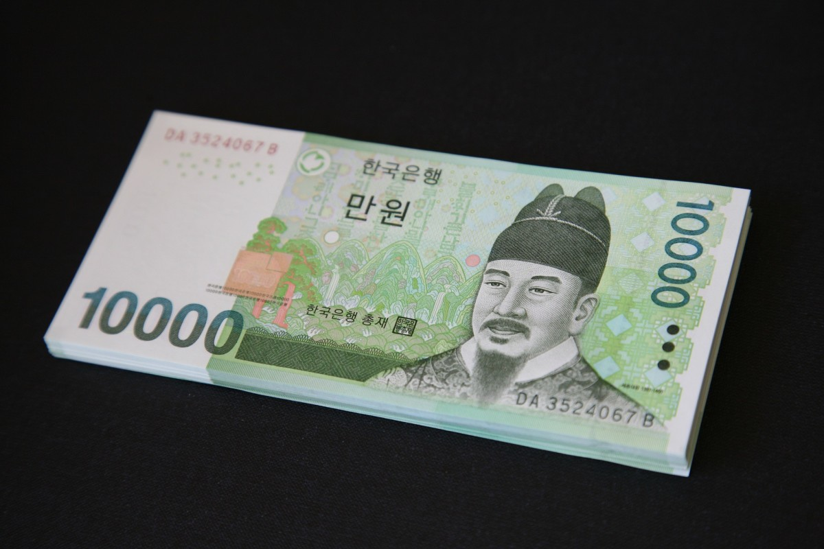 A 10,000-won note Is worth about $10 USD.