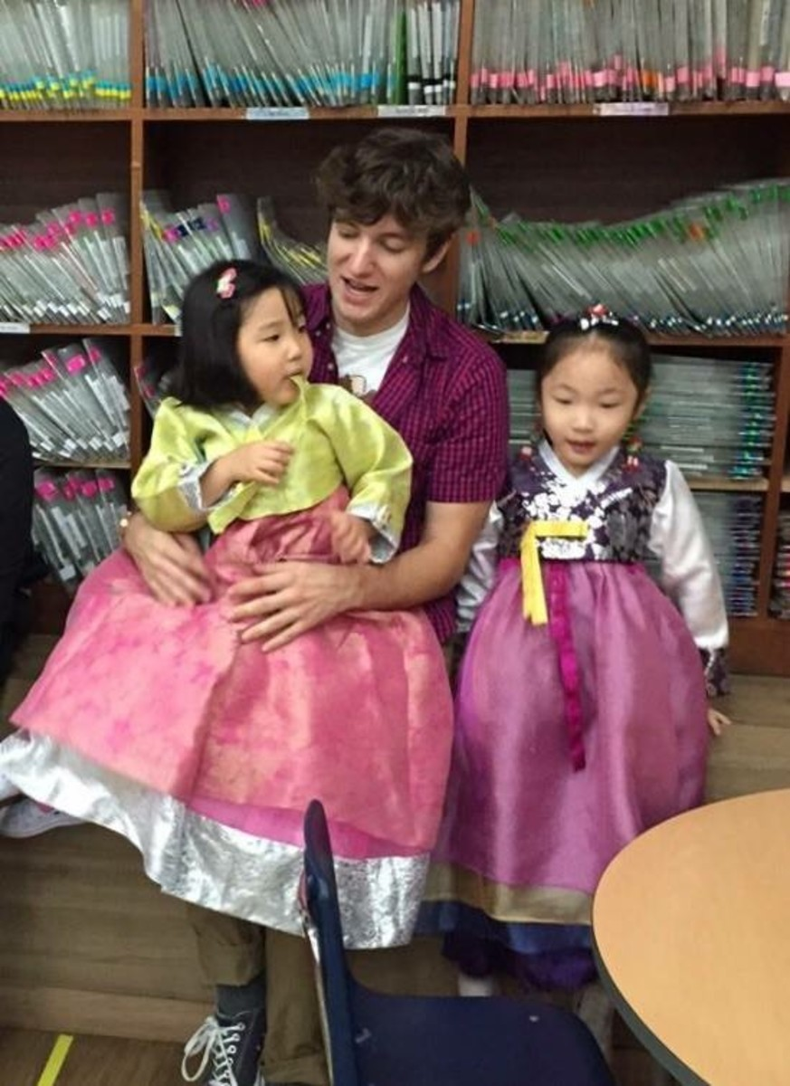 Myself with two of my students wearing traditional Korean clothing.