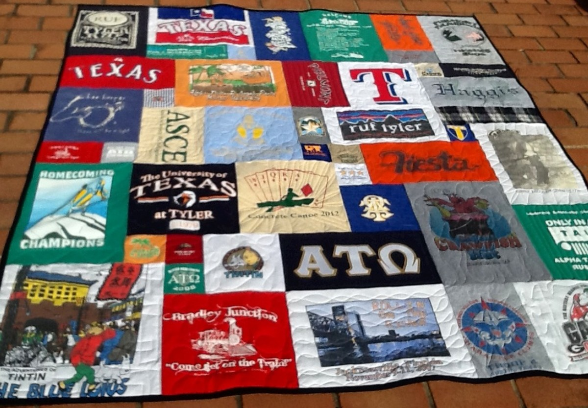 Don't toss your hand-me-downs! Quilt pieces are big!