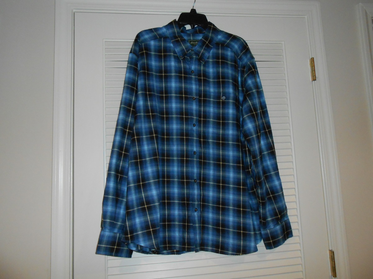 Eddie Bauer shirt brand new with tags ( $55.00 original price) and I paid $5.49 at Goodwill.