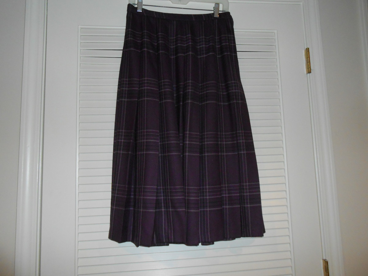 Pendleton pleated wool skirt purchased at a local thrift store for $2.00.