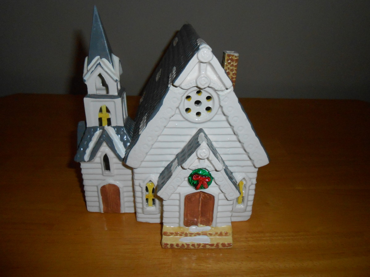 Dept. 56 Christmas church bought for 50 cents at a local thrift store.