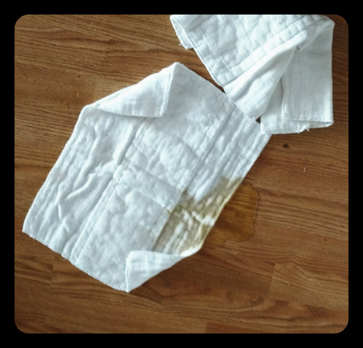 As I set up to take a picture of these baby diaper now wash rags I discovered my puppy peed. See how quickly they absorb. It was an easy clean up.