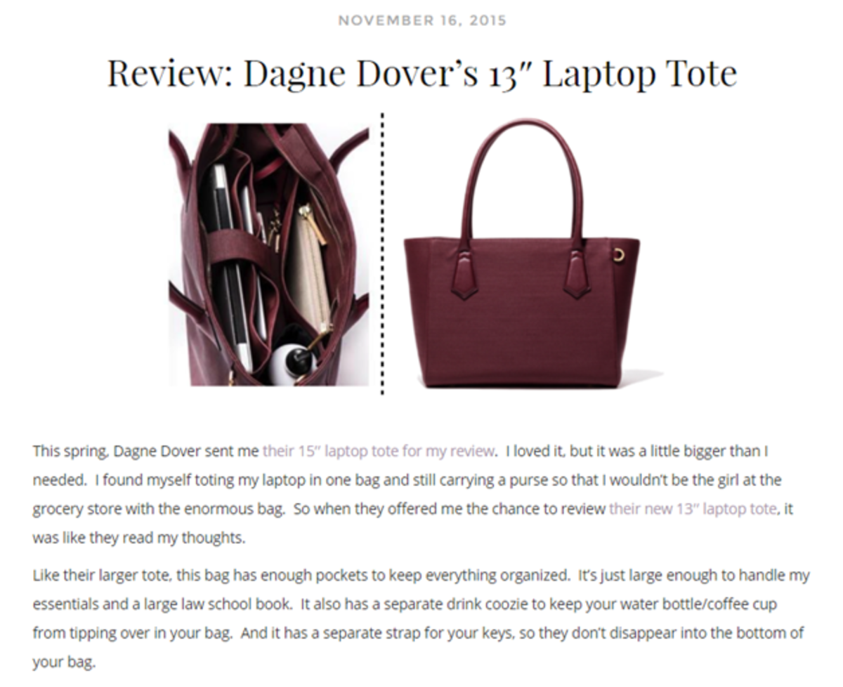 Capitol Hill Style gives a glowing review of the Dagne Dover bag