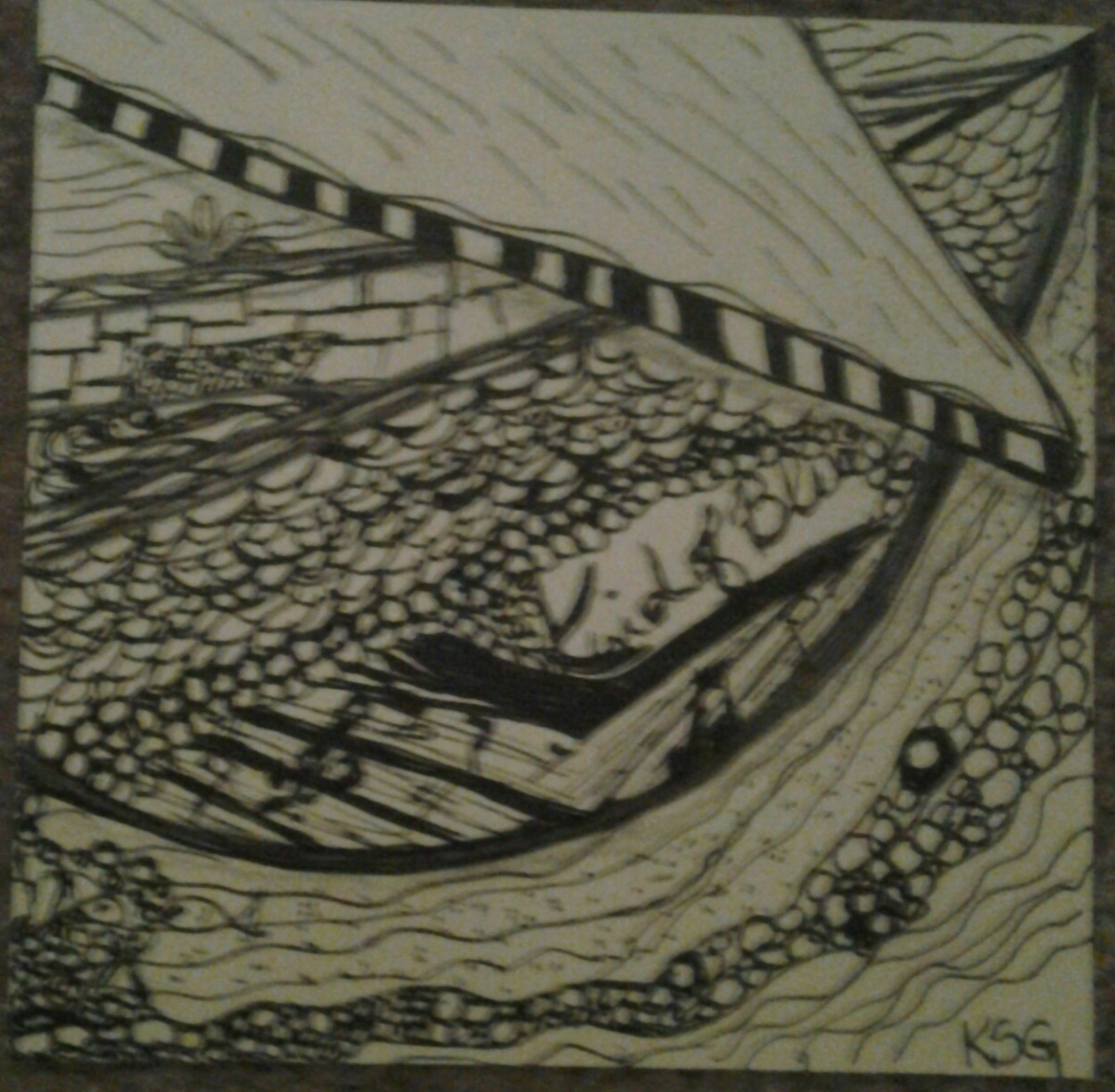 A boat I drew for a neighbor in the style of Zentangle