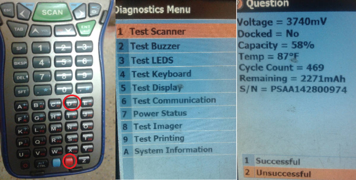 Left - Power Keys Required for Battery Test Center - Power Menu Right - Power Percentage Listed Under Capacity