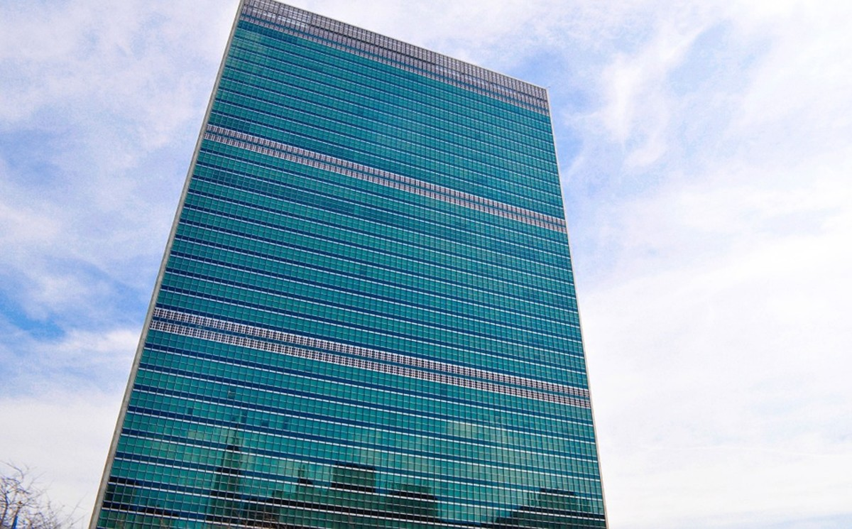 The headquarters of the United Nations in New York. The Manhattan building was designed by Brazilian, Oscar Niemeyer and completed in 1952.