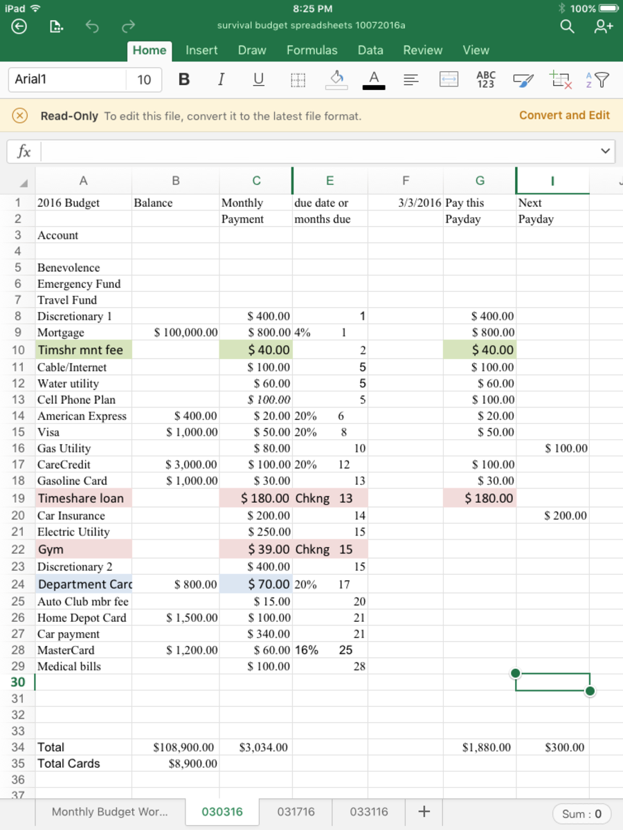 Payday Budget Spreadsheet #1, for the first payday of a three payday month