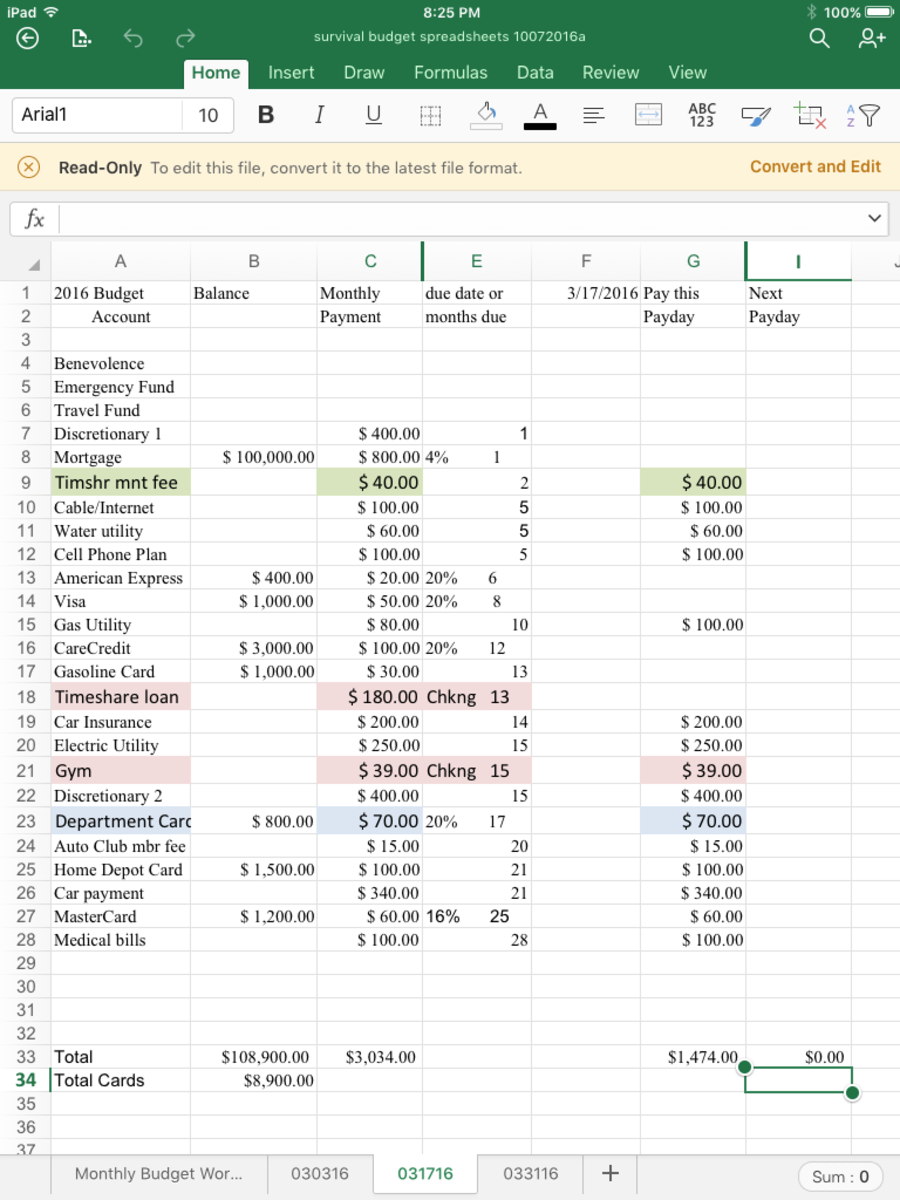 Payday Budget Spreadsheet #2, for the second payday of a three payday month