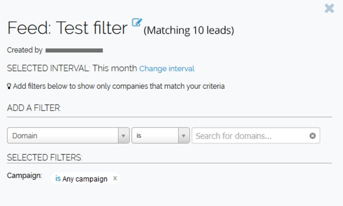 Leadfeeder's custom filters in action.